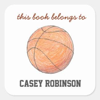 Bookplates personalizados baloncesto para los pegatina cuadrada