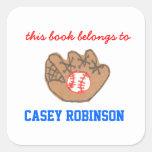 Bookplates personalizados béisbol para los niños calcomania cuadrada personalizada