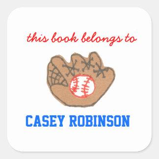 Bookplates personalizados béisbol para los niños pegatina cuadrada