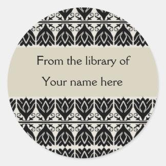 Bookplates personalizados - damasco negro pegatinas redondas