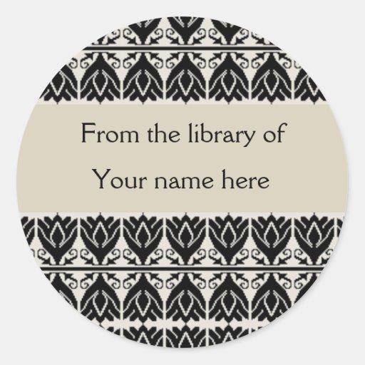 Bookplates personalizados - damasco negro pegatina redonda