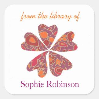 Bookplates personalizados flor colorida pegatina cuadrada