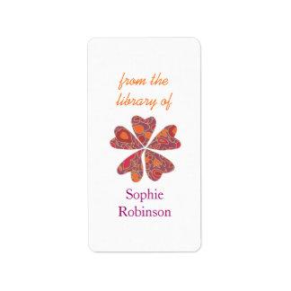 Bookplates personalizados florales coloridos etiquetas de dirección