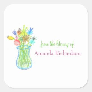 Bookplates personalizados florales pegatina cuadrada