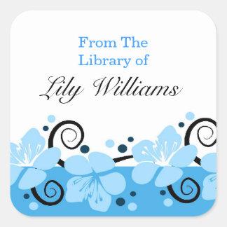 Bookplates personalizados - flores azules pegatina cuadrada
