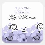 Bookplates personalizados - flores púrpuras calcomanía cuadradas personalizada