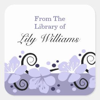 Bookplates personalizados - flores púrpuras pegatina cuadrada