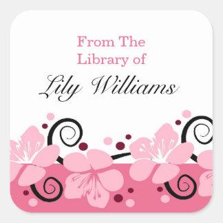 Bookplates personalizados - flores rosadas pegatina cuadrada