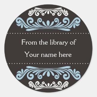 Bookplates personalizados - Flourishes coloridos Etiqueta Redonda