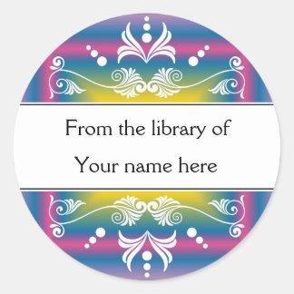 Bookplates personalizados - Flourishes coloridos Pegatina Redonda