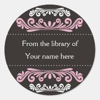 Bookplates personalizados - Flourishes coloridos Etiquetas Redondas