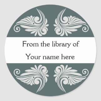 Bookplates personalizados - Flourishes Pegatina Redonda
