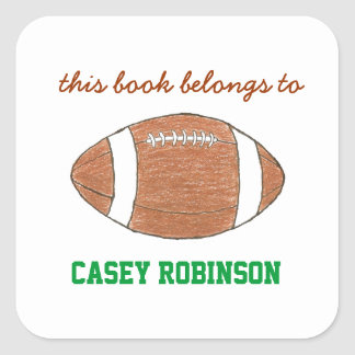 Bookplates personalizados fútbol para los niños calcomania cuadradas