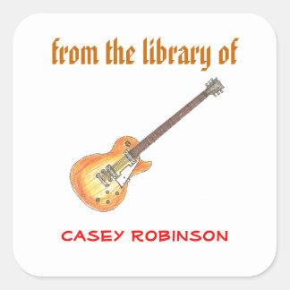 Bookplates personalizados guitarra fresca calcomanía cuadradas personalizada
