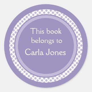 Bookplates personalizados: Lunares de la lavanda Pegatina Redonda