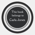 Bookplates personalizados: Lunares negros y grises Pegatina Redonda