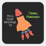 Bookplates personalizados para los niños - cohete pegatina cuadrada