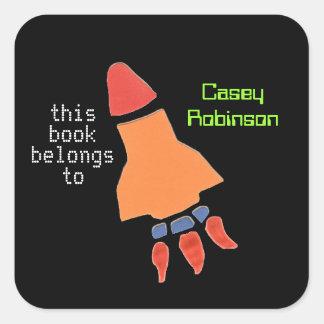 Bookplates personalizados para los niños - cohete pegatina cuadradas personalizadas