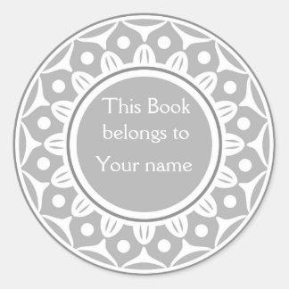 Bookplates personalizados personalizado - gris pegatina redonda
