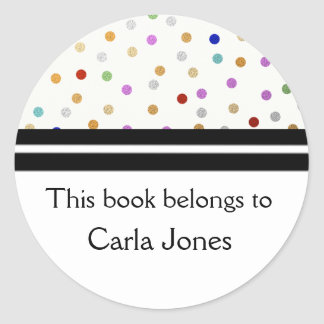 Bookplates personalizados - puntos coloridos pegatina redonda