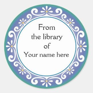 Bookplates personalizados - remolinos del blanco pegatina redonda