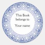 Bookplates personalizados:: Remolinos y puntos Pegatinas