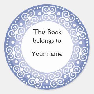 Bookplates personalizados:: Remolinos y puntos Pegatina Redonda