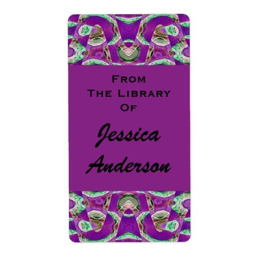bookplates púrpuras bonitos etiqueta de envío