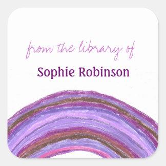 Bookplates púrpuras del personalizado del arco pegatina cuadrada
