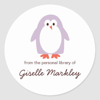 Bookplates púrpuras del pingüino etiqueta redonda
