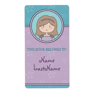 Bookplates púrpuras y azules/chica lindo del dibuj etiqueta de envío