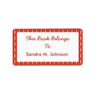 bookplates rojos del modelo etiqueta de dirección