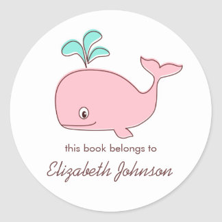 Bookplates rosados de la ballena pegatina redonda