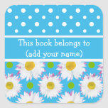 Bookplates to Personalize: Polkas, Daisies on Blue Square Sticker