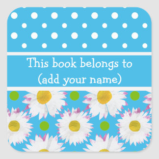 Bookplates to Personalize Polkas Daisies on Blue Square Sticker