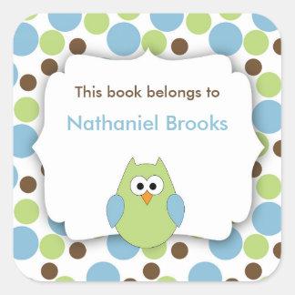 Bookplates verdes y azules del búho para los niños pegatina cuadrada