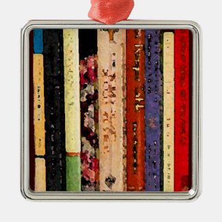 Books Abstract Christmas Tree Ornament