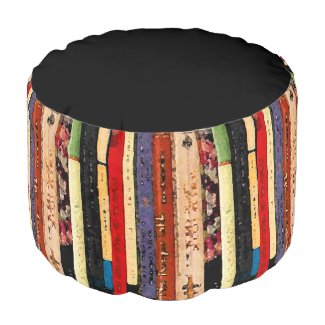 Books Abstract Pouf