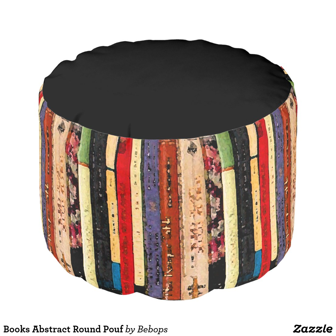 Books Abstract Round Pouf