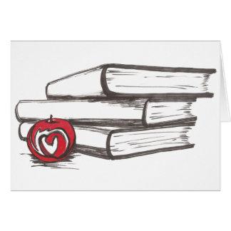 Books + An Apple   Customizable Card