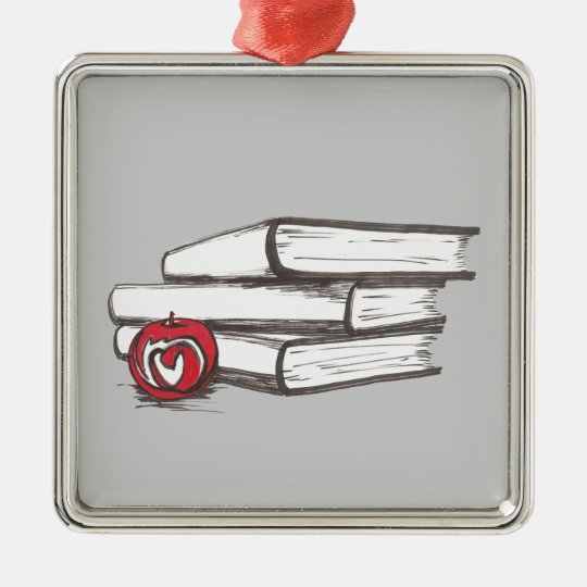 Books + An Apple   Ornament   Customizable