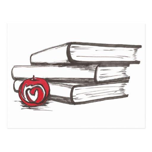 Books + An Apple | Postcard | Customizable