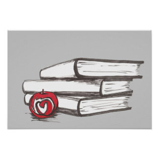 Books + An Apple Poster Customizable