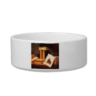 books and a Rembrandt etching by Stoskopff Cat Food Bowl