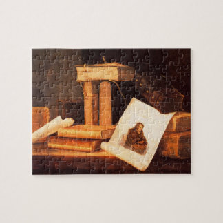 books and a Rembrandt etching by Stoskopff Puzzles