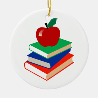 Books and Apple Double-Sided Ceramic Round Christmas Ornament
