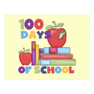 Books and Apples 100 Days of School Tshirts Postcard