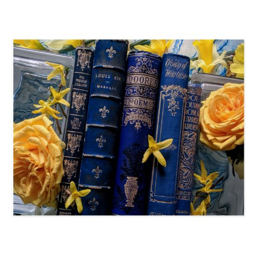 Books and Blossoms Blue  Yellow Postcard