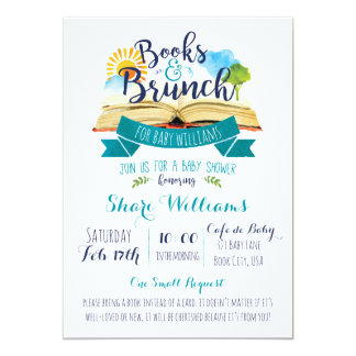 Books And Brunch Baby Shower Invitation   Blue