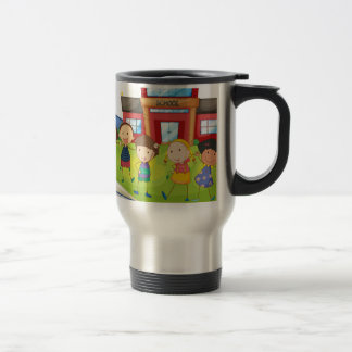 Books and children at the school travel mug